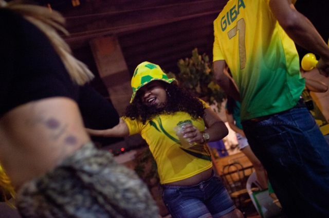 Brazil - World Cup 2014 - Brazilians watch the opening game in Favela Do Moniho, Sao Paulo